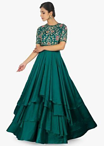 Emerald green satin layered gown with bodice in resham thread embroidery