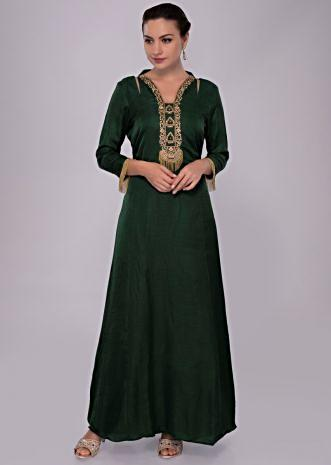 Emerald green tunic dress with embroidered neck and placket