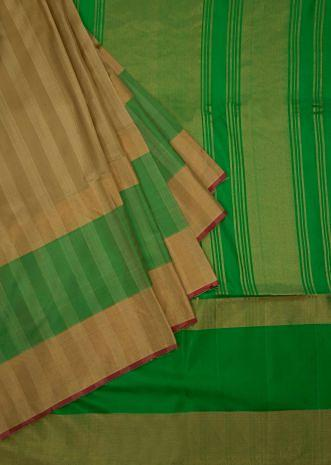 Fall straw beige plain saree with parrot green brocade pallo