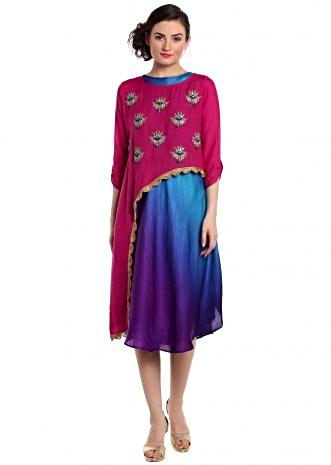 Fancy asymmetric kurti in rani pink with embroidered butti only on Kalki