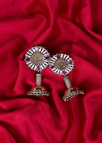 Fancy oxidized earrings with jhumka drops only on Kalki