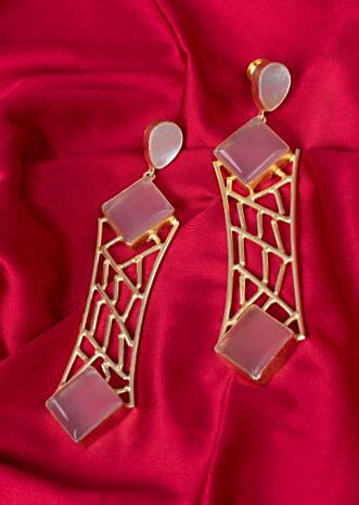 Fancy part wear earring with pink semi precious stones only on Kalki