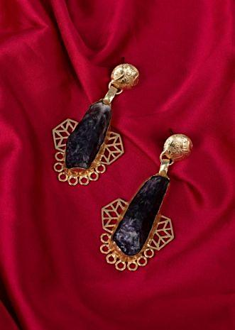 Fancy party wear drop earring with dark purple semi precious stone only on Kalki