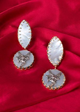 Fancy party wear earrings with semi precious stone only on Kalki
