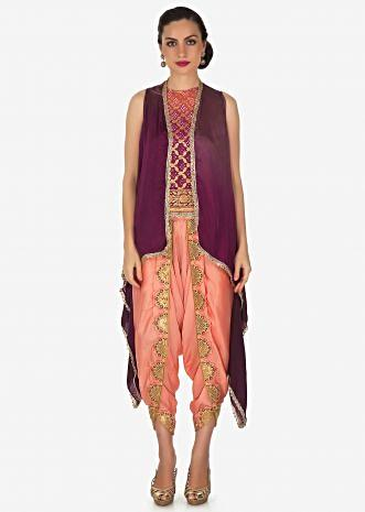 Fancy dhoti set with shaded bandhani and wine jacket only on Kalki