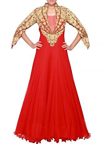 Featuring a scarlet red gown in embellished in gold stone embroider only on Kalki