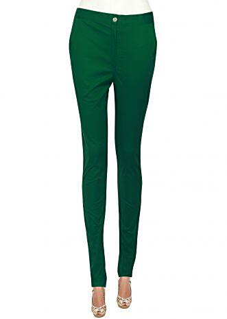 Featuring cigarette pants in green only on Kalki