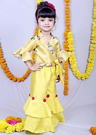 Featuring green yellow layered palazzo set with printed blouse