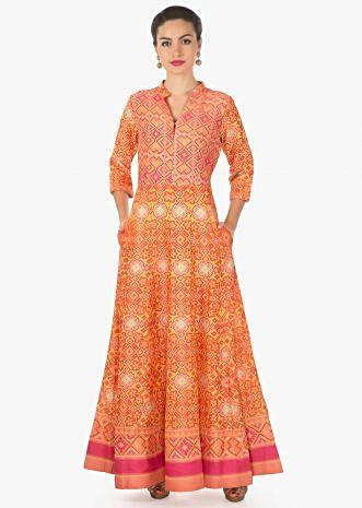 Featuring yellow and peach printed dress only on Kalki