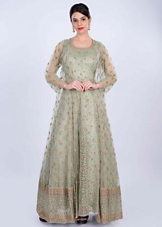 Fern green anarkali gown in self floral thread embroidery only on Kalki
