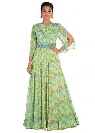 Fern green printed gown with cut sleeves