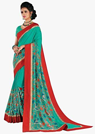 Fern green saree in floral print with red contrast border