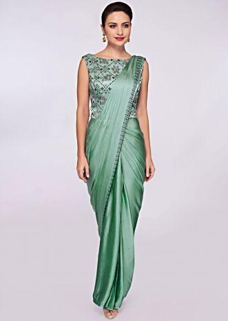 Fern green satin saree gown with kundan embroidered bodice
