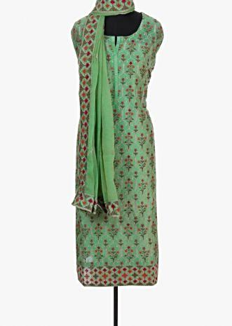 Fern green unstitched silk suit with resham and zari work in floral and moroccan  motif