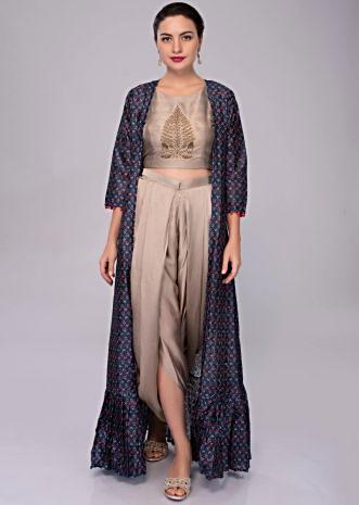 0e69c3561e05e Fern grey embroidered crop top and dhoti pant with dark cobalt blue  jacquard jacket only on ...