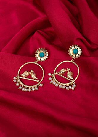 Filigree traditional earring with floral and  bird motif only on Kalki