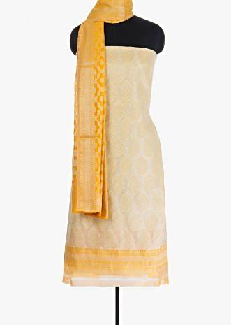 Fire yellow unstitched suit in weaved jaal work
