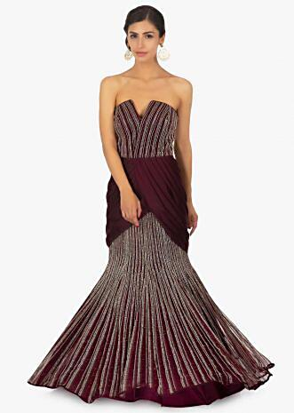 Fish tail strapless violet satin net gown with pleated cowl drape