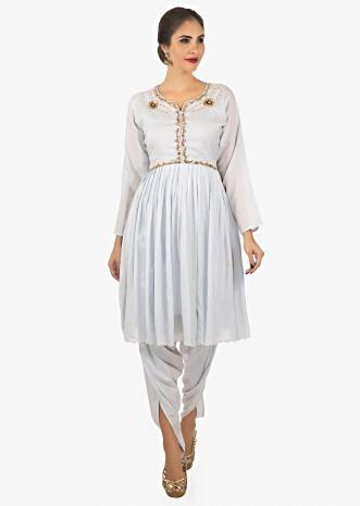 Flint blue cotton kurti with gathers paired with over lapping dhoti pant