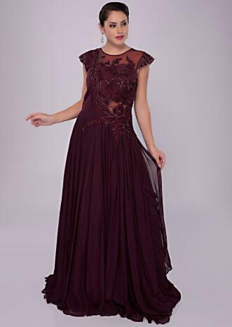 Floor length wine gown with raw silk and net embroidered bodice