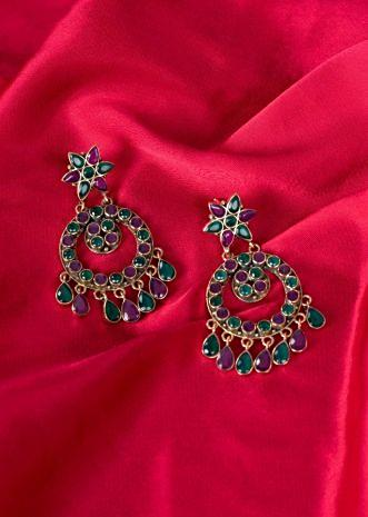 Floral chandelier earring with green and plum semi precious stone only on Kalki