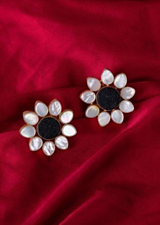 Floral cluster earring with semi precious stone only on Kalki