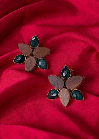 Floral cluster earring with wood and emerald green stone only on Kalki