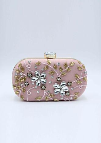 Floral diamond baby pink sling clutch bag