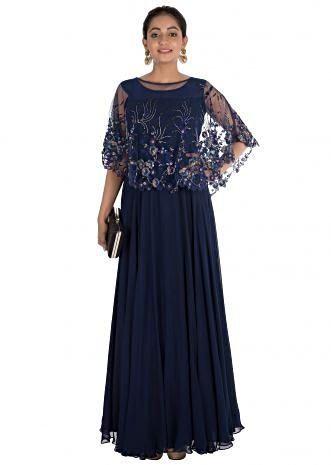 Floral Hand Embroidered Midnight Blue Cape Gown