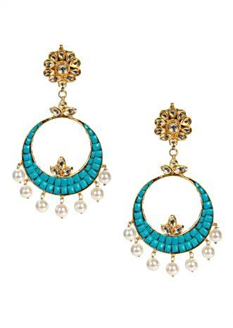 Floral Kundan drop earring with turquoise green Chandbali only on Kalki