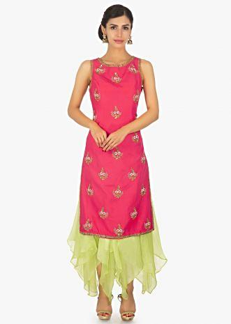 Florescent coral straight suit with embroidered butti paired with florescent  green organza skirt