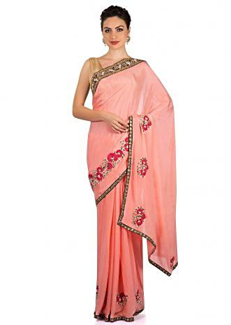 Fresh peach saree in rose motif embroidery only on Kalki
