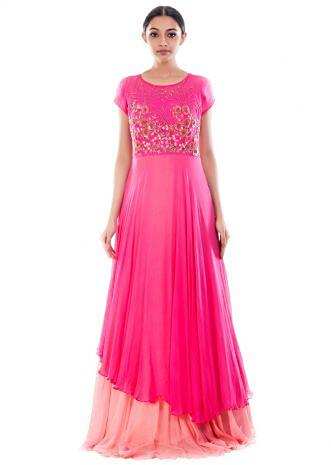 Fuchsia Pink Double Layer Gown