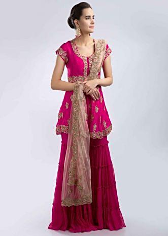 8caeff068 Fuchsia pink hand embroidered georgette sharara suit set with peach net  dupatta only on Kalki