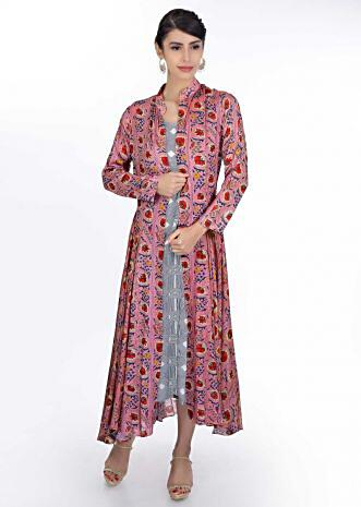 Geometric motif blue cotton tunic dress paired with floral printed cotton jacket