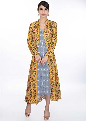 Geometric motif cotton tunic dress with mustard floral printed jacket