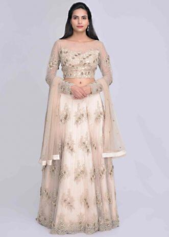 7eb9756e65 Gold embroidered net lehenga set with satin under layer only on Kalki