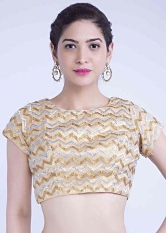 923d760496 Gold net blouse with silver and gold zari in chevron pattern only on Kalki  ...