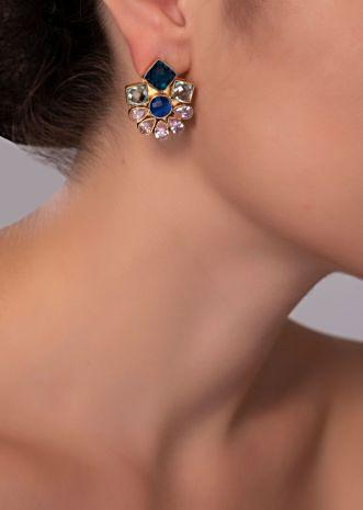 Gold plated cluster earring in multi color  kundan stone only on Kalki