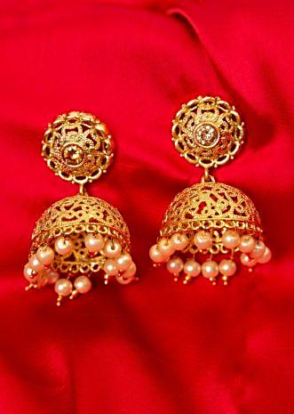 Gold plated cut out jhumkas with moti drops