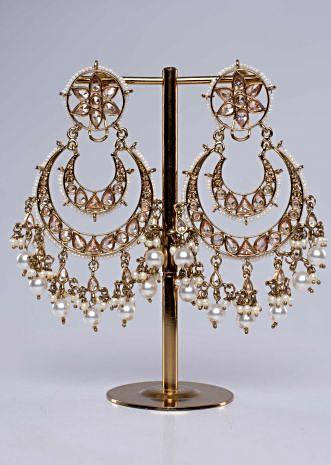 gold plated double layer chandbali earring