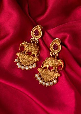 Gold plated elephant motif temple earring only on Kalki