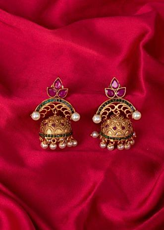 Gold plated jhumkas with moti drops only on Kalki