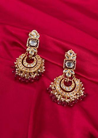 Gold plated long drop traditional earring with double chandbali layer only on kalki