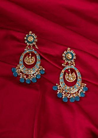 Gold plated long traditional long chandelier earring with  meenakari work only on kalki