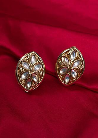 Gold plated marquise earring with kundan work only on kalki