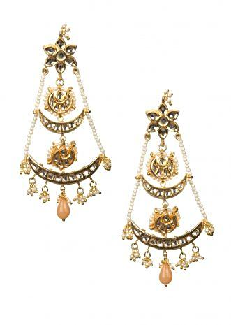 Gold plated multiple layered Chandbali earrings in floral studs