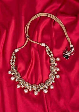 Gold plated tradition round collar necklace.
