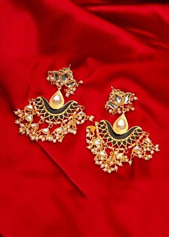 Gold plated traditional earring with black semi precious stone