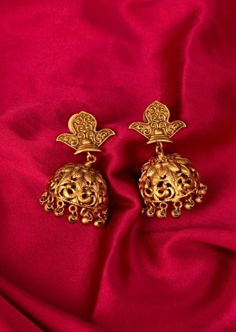Gold plated traditional jhumkas  only on Kalki